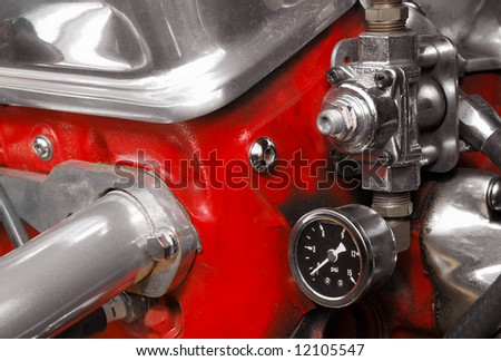 mechanical vehicle compressor valve close-up - stock photo