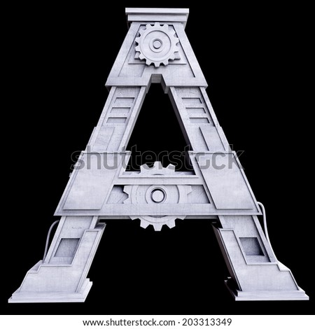 Mechanical white letters scratched metal on black background. Letter a - stock photo