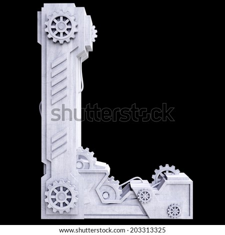 Mechanical white letters scratched metal on black background. Letter l - stock photo