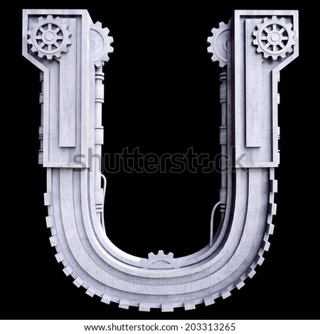 Mechanical white letters scratched metal on black background. Letter u - stock photo