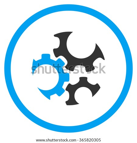 Mechanics glyph icon. Style is bicolor flat circled symbol, blue and gray colors, rounded angles, white background. - stock photo