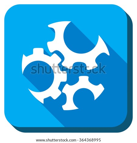 Mechanics glyph icon. Style is rounded square light blue button with long shadows. Symbol color is white. - stock photo