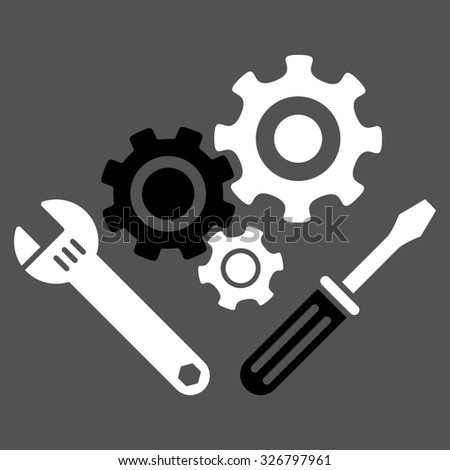Mechanics Tools illustration icon. Style is bicolor flat symbol, black and white colors, rounded angles, gray background.