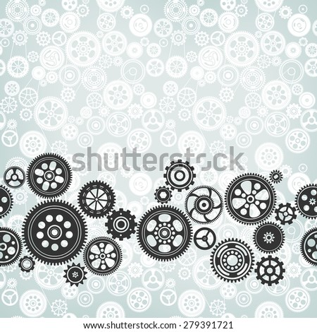 mechanism background with cogwheels and gears - stock photo