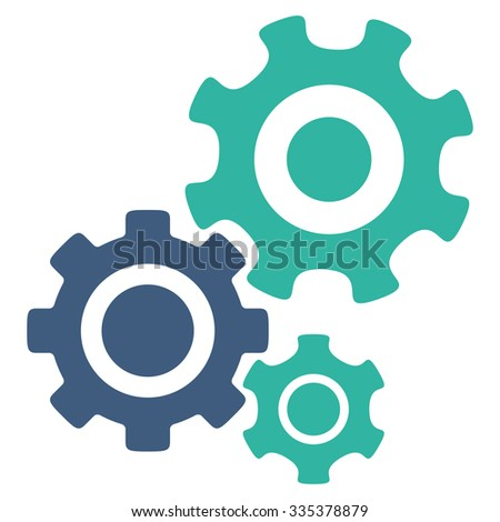 Mechanism glyph icon. Style is bicolor flat symbol, cobalt and cyan colors, rounded angles, white background. - stock photo