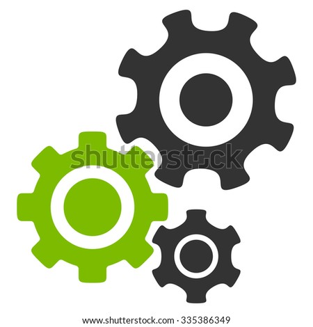 Mechanism glyph icon. Style is bicolor flat symbol, eco green and gray colors, rounded angles, white background. - stock photo
