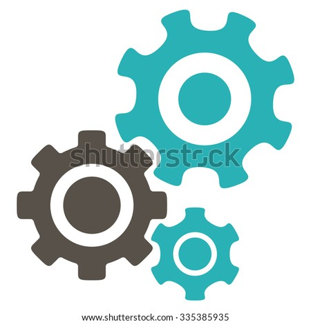 Mechanism glyph icon. Style is bicolor flat symbol, grey and cyan colors, rounded angles, white background. - stock photo
