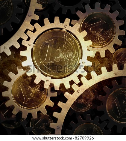 mechanism of gears with euro coins - stock photo