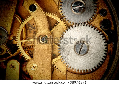 Mechanism of old clock - sprockets in the system are well visible