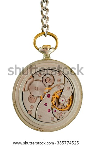 Mechanism of old pocket watch on a chain