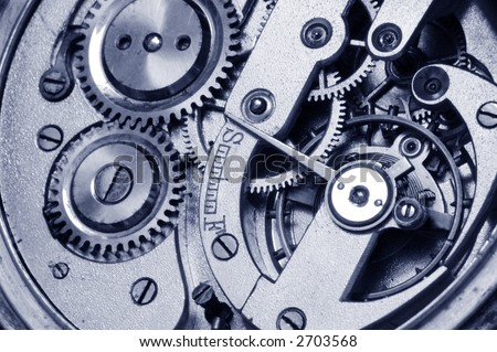 mechanism of old watch. close-up. two gears