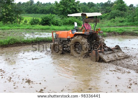 Mechanism of Thai farmer for rice cultivation on today - stock photo