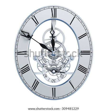 Mechanisms hours dial isolated on white background. 3d render image. - stock photo
