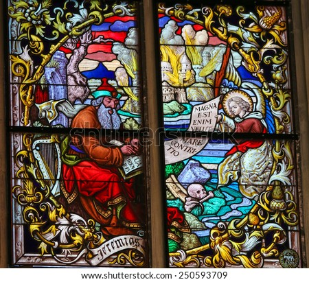 MECHELEN, BELGIUM - JANUARY 31, 2015: Stained Glass window depicting the Prophet Jeremiah in the Cathedral of Saint Rumbold in Mechelen, Belgium. - stock photo