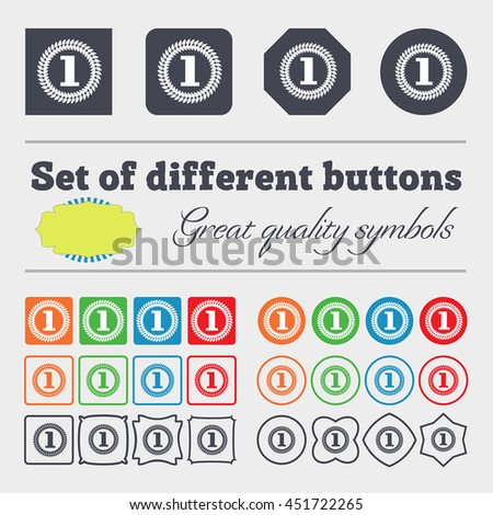 Medal, award, first icon sign. Big set of colorful, diverse, high-quality buttons. illustration - stock photo