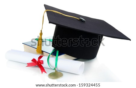 Medal for achievement in education with hat and diploma isolated on white - stock photo
