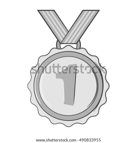Medal for first place icon in black monochrome style isolated on white background. Sport symbol.  illustration