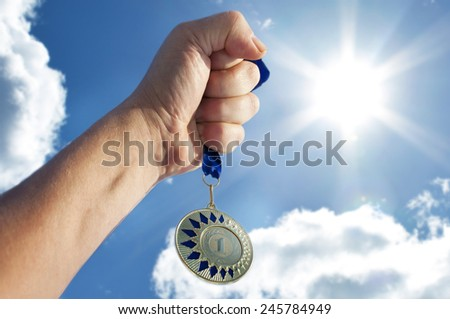 Medal  for the first place. - stock photo