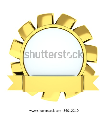 medal in the shape of a flower, award ribbon - stock photo