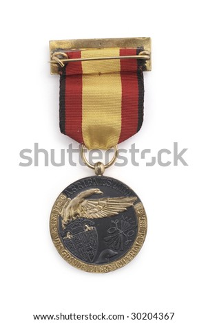 Medal of civil war member in Spain. 1936-39. (against Republic). Path on the white background. - stock photo