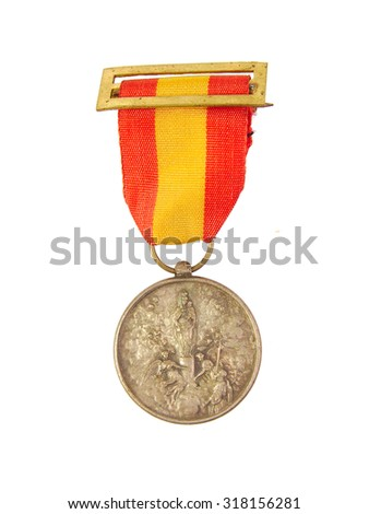 Medal of Honor showing Spanish flag and Our Lady of Pilar or Pillar image isolated on white background - stock photo