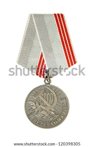 """Medal """"Veteran of Labour"""" isolated on a white background - stock photo"""