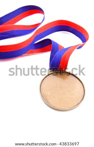 Medal with red and blue isolated over white - stock photo