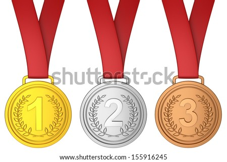 Medal with red ribbon. 3d illustration on white background  - stock photo
