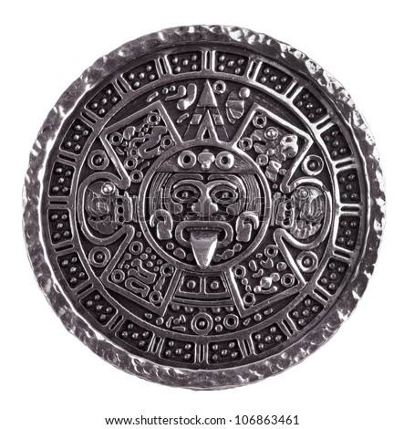 Medallion engraved with the Mayan calendar on a white background - stock photo