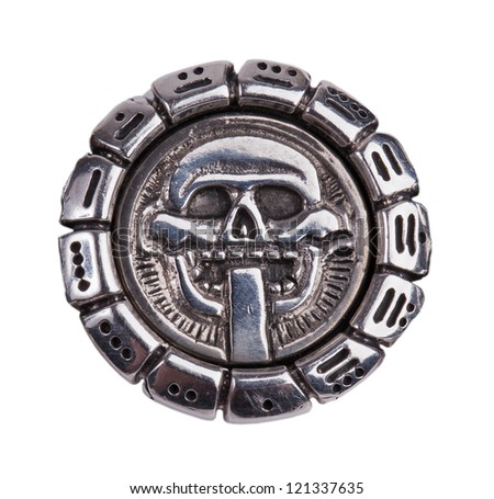Medallion fragments from the Mayan calendar on a white background - stock photo
