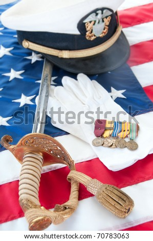 Medals and uniform pieces from World War II veteran - stock photo