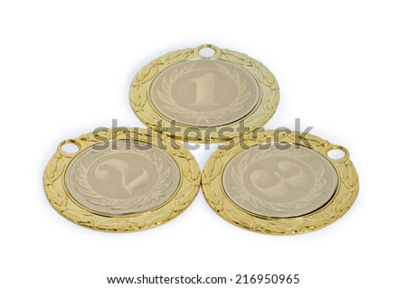 Medals for winners of sporting events isolated on a white background.