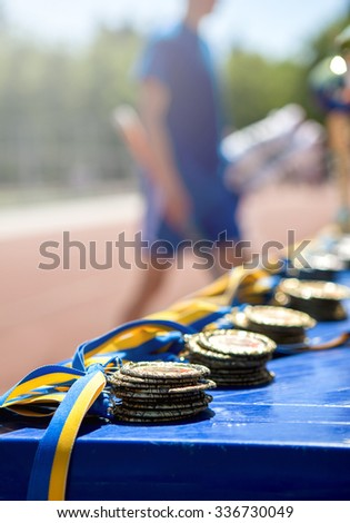 medals on a table - stock photo