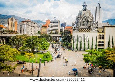 MEDELLIN, COLOMBIA - FEBRUARY 24, 2015: Beautiful Botero Plaza in Old Quarter area in Medellin