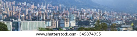 MEDELLIN, COLOMBIA, MARCH 11: Aerial view of Medellin with residential and office buildings. Colombia 2015
