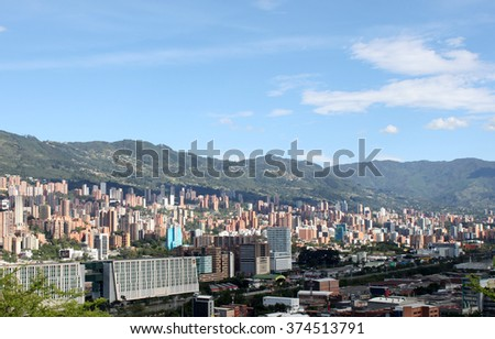 Medellin downtown. Colombia. Buildings. Landscape panorama
