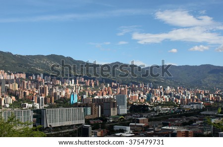 Medellin downtown. Colombia. Buildings. Landscape panorama - stock photo