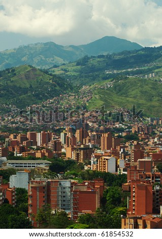 Medellin, the second biggest city in Colombia, which is the capital of the Department of Antioquia - stock photo