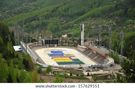 Medeo Stadium. Ice-skating rink in the mountains, Kazakhstan