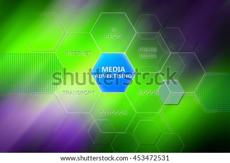 Media advertising concept. Button with text media advertising and words press media, indoor, outdoor, transport, internet, tv. Wallpaper, green background for theme advertising. - stock photo