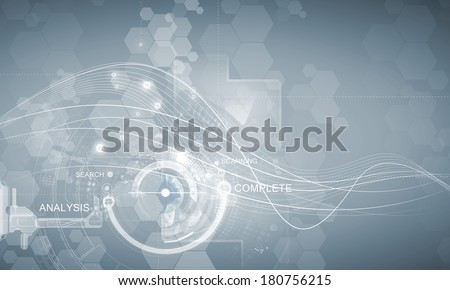 Media background image with icons and binary code