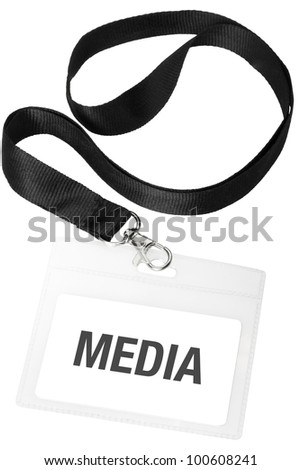 Media badge or ID pass isolated on white background, clipping path included - stock photo