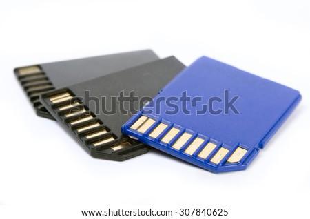 Media cards isolated on white background closeup - stock photo