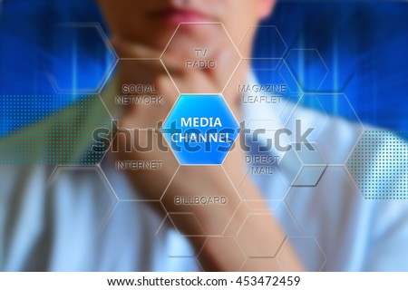 Media channel, concept. Button with text media channel and words magazine, direct mail, billboard, internet, social network, tv. Thinking man. Concept diagram of media channel for theme advertising. - stock photo