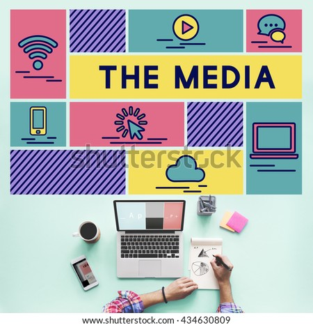 Media Computer Communication Internet Information Concept - stock photo