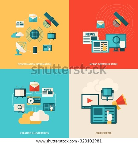 Media design concept set with social online information flat icons isolated  illustration