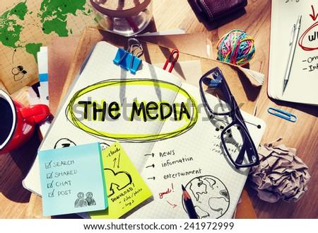 Media Entertainment Planning Information Ideas Office Concept - stock photo