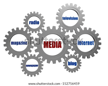 media, internet, blog, newspaper, magazine, radio, television - words in 3d silver grey gearwheels, technology and communication concept - stock photo