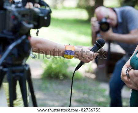 Media interview - stock photo
