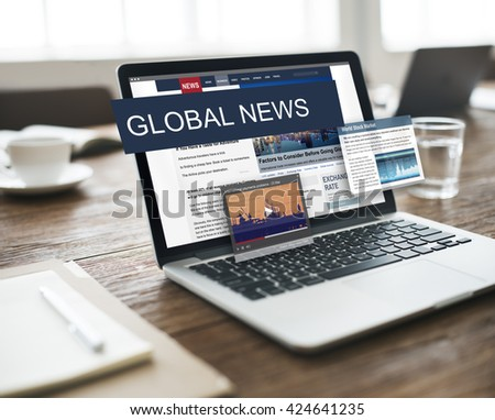 Media Journalism Global Daily News Content Concept - stock photo